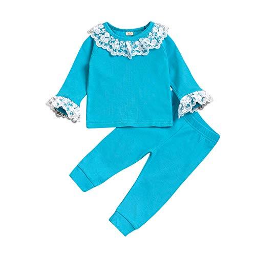 sunnymi - Juego de ropa para bebé, niño, niña, niña, de punto, jersey, tops, pantalones, conjunto de ropa verde 12-18 Meses