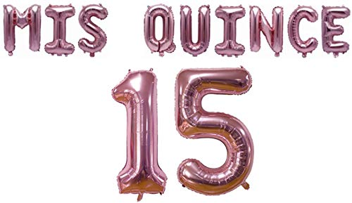 MIS Quince 15 Balloons for Quinceanera Birthday Party Decorations (Rose Gold)