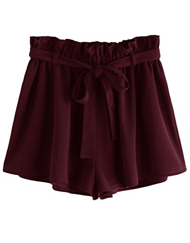 Romwe Women's Casual Elastic Waist Summer Shorts Jersey Walking Shorts Burgundy M