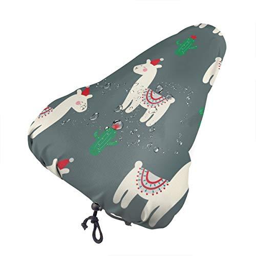 Sillín de bicicleta no aplicable con diseño de animales de dibujos animados extra suave – Cojín para sillín de bicicleta con cubierta resistente al agua y al polvo, Navidad Lindo Llama Y Cactus, talla única