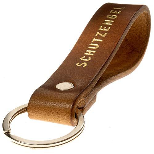 LIEBHARDT Schlüsselanhänger Leder mit Schutzengel fürs Auto Geschenk für deinen Engel Frauen Männer Gold Gravur/Prägung mit Liebe in Deutschland gefertigt Key Organizer