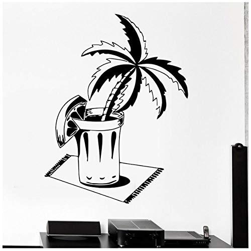 Hanzeze Muurstickers Beker van bloemen en planten Zelfklevende PVC sticker muurschildering art deco voor woonkamer ramen kinderkamer huisdecoratie 57x75cm