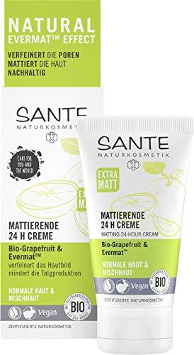 SANTE Naturkosmetik Mattierende 24H Creme, Gesichtscreme für Mischhaut, Verfeinert die Poren, Mattiert die Haut, Bio-Extrakte, Vegan, 1 x 50ml