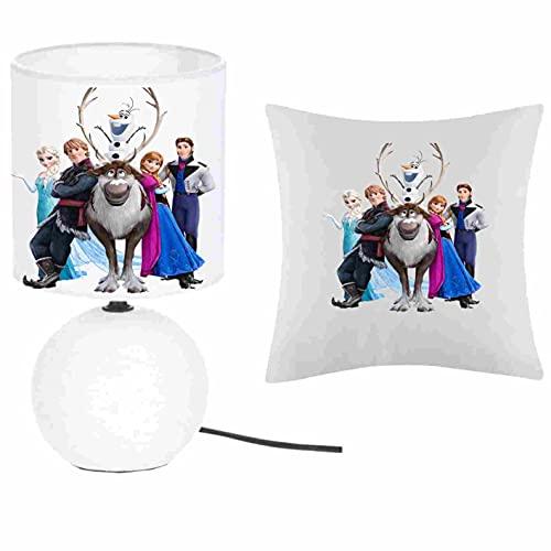 Kokokat – Juego de 1 lámpara de pie de cerámica + 1 funda de cojín de Frozen y Co con nombre a elegir 41 x 41 cm, producto fabricado en Francia