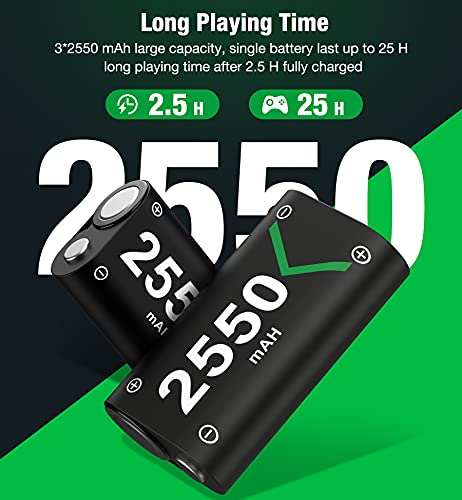 Controller Battery Pack for Xbox One/Xbox Series X|S, Rechargeable Battery Pack for Xbox Series X|S/Xbox One/Xbox One S/Xbox One X/Xbox One Elite Controller,Battery Charger with 3x2550 Pack Kit