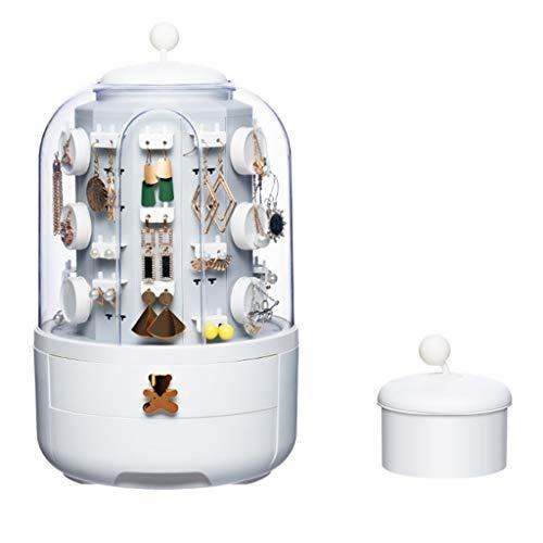 Joyería Caja de Almacenamiento de Joyas para niña Estante Pendiente Colgador de Collar Giratorio Soporte de exhibición (Color : Blanco, Size : 21 * 36cm)