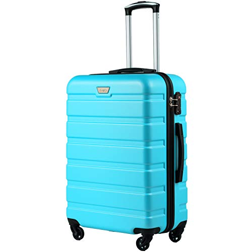 COOLIFE Suitcase Trolley Carry On Hand Cabin Luggage Hard Shell Travel Bag Lightweight 2 Year Warranty Durable 4 Spinner Wheels (Sky Blue, S(56cm 38L))