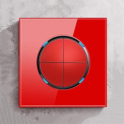Foicags Interruptor de la llave de cristal templado Interruptor de la luz de la pared del interruptor redondo rojo del interruptor del panel de reinicio automático, el interruptor del punto de la ofic