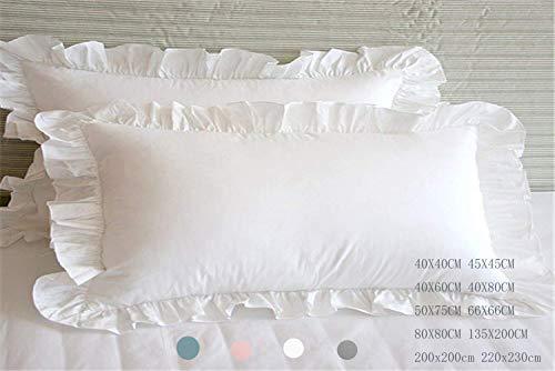 Meaning4 Kissenbezüge mit Saum Rüschen Baumwolle Weiße Bettwäsche 40 x 60 cm 2 Stück