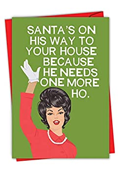 NobleWorks - Funny Adult Christmas Card for Women - Happy Holiday Bluntcard Humor Greeting Card with Envelope - One More Ho C2925XSG