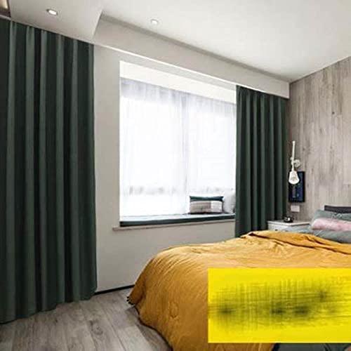 Cortina opaca gruesa para vivir, estilo moderno, 85% sombreado, cortina de color sólido, para ventana de cocina, hecha a medida, 9verde, 200 x 270 cm, 1 unidad, ganchos superiores