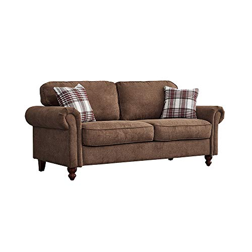 2 Seater / 3 Seater Sofa Couch Settee Fabric Sofa Living Room Sofa with Retro Design Leg and 2 Free Cushions (Brown, 3 Seater)