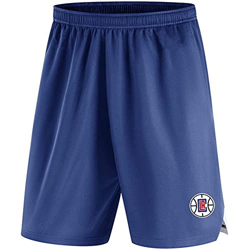 BMSD NBA Shorts Clippers Jersey Hombres Azul Pantalones de Baloncesto Casuales Pantalones Cortos Deportivos, M