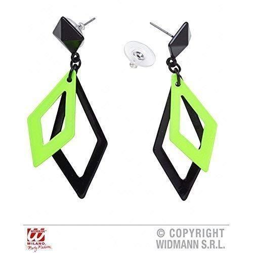 Lively Moments Freche grün - Schwarze Ohrringe passend zu Kostümen der 80er oder Disco