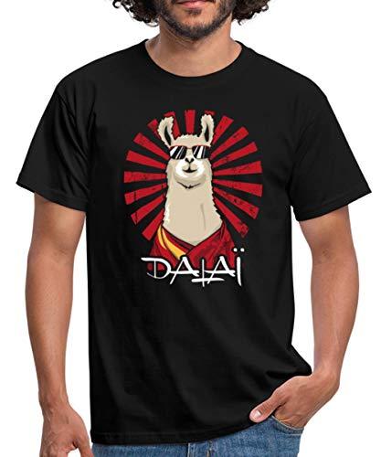 Spreadshirt Dalaï-Lama Jeu De Mots Drôle T-Shirt Homme, XXL, Noir