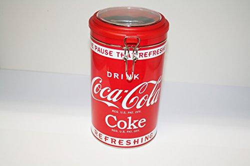 COCA COLA COKE Koffieblik met clip en kijkvenster slogan DRINK CocaCola COKE REFRESHING