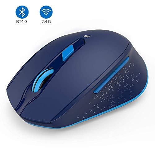 seenda 2.4G+Bluetooth Dual-Modi Kabellose Maus, ergonomische und leise Maus für Windows PC/Laptop/MacBook/Android Tablet/iPad(iPad OS sind erfordlich), Blau