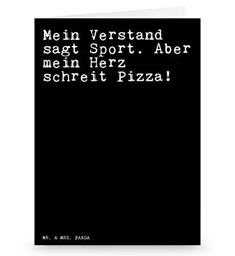 Mr. & Mrs. Panda Grußkarte mit Spruch Mein Verstand SAGT Sport. Aber Mein Herz schreit Pizza!