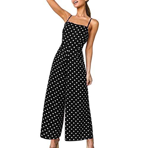 LUCKDE Jumpsuit Damen, Onesie Overall Einteiler Jumpsuit Neckholder Lang Overall Kleid Vintage 50er Ärmellos Strandkleid Beachwear Strandoverall
