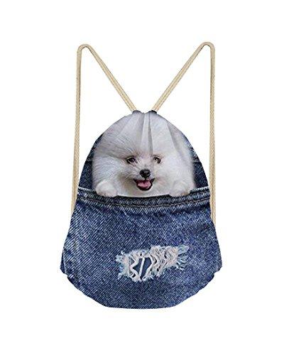 Windeam gymtas denim hondje bedrukt sporttas rugzak schooltassen, jute tas hipster gymtas strandtas sportrugzak