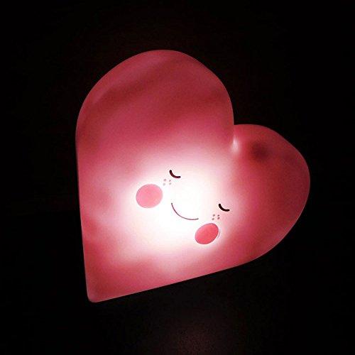 Luz nocturna protable con control de interruptor, sonrisa en forma de corazón, LED toda la noche, funciona con pilas, brillo en la noche, mesa de salón, sala de estar adultos niños hogar WATOPI