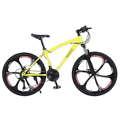 Bicicleta de montaña de 26 pulgadas, marco de acero de alto carbono, bicicleta antideslizante de freno de disco doble, 21/24/27 palanca de engranajes, bicicleta de carretera urbana ( Color : Yellow )