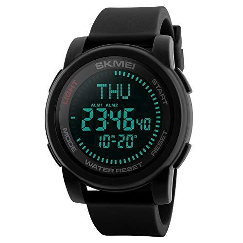 Somviersb Multifunktionale Herren Outdoor Sports wasserdichte Digitaluhr mit Kompass- und Weltzeitfunktion (Farbe : Schwarz)