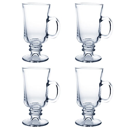Irish Coffee Mugs | 4pcs of Clear Vintage Glass with 7.8oz Capacity for Hot Beverages Material Crystal Clear Glassware Dishwasher Safe Easy Grip Handle | Transparent | 1627