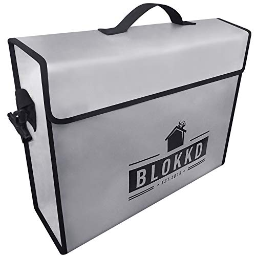 BLOKKD Fireproof Document Bags - Fire Safe Lock Box Bag - Waterproof Storage Safety for Files, Money, Passport, Jewelry, Valuables - 13 x 16 x 5 inches