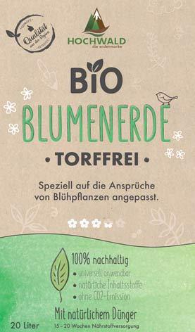 Hochwald Bio Blumenerde Torffrei 20 Liter - Universalerde für Zimmer-, Balkon- und Kübelpflanzen - biologisches Naturprodukt - natürlichem Dünger mit 15-20 Wochen Langzeitwirkung