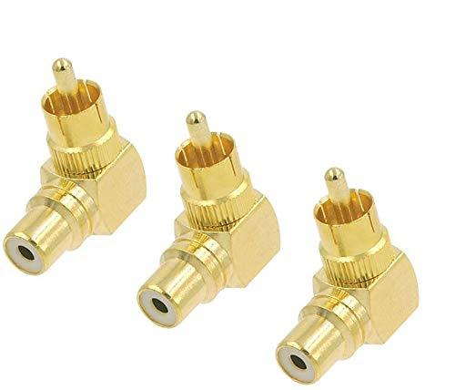 VCE 3 Stück Cinch Winkeladapter Cinch Stecker auf Cinch Kupplung Chinch Winkelstecker Adapter Vergoldet