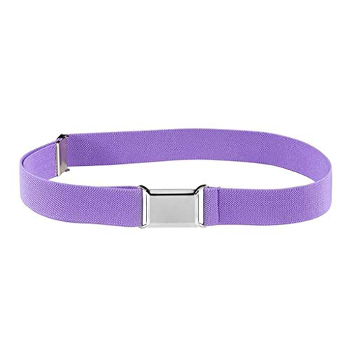 CRRE Kinder Kindergürtel elastisch verstellbar elastischer Unisex-Gürtel Silber quadratische Schnalle Jungen und Mädchen elastischer Gürtel einfarbiger Hosengurt (Q)