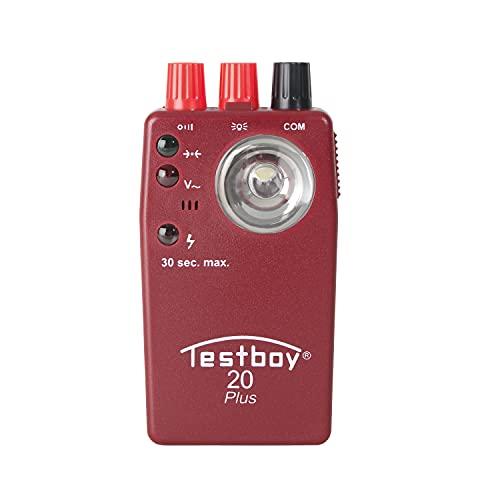 Testboy 20 Plus fremdspannungsgeschützter Durchgangsprüfer CAT II 300 V, Elektriker Werkzeug (berührungsloser Spannungssensor, hochleistungs-LED-Taschenlampe, sekundenschnell), Rot