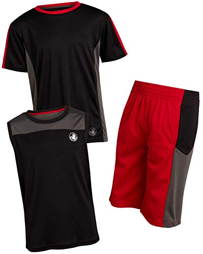 Body Glove Boys 3-Piece Performance Athletic Short Set, Size 5, Black/Charcoal/Red'