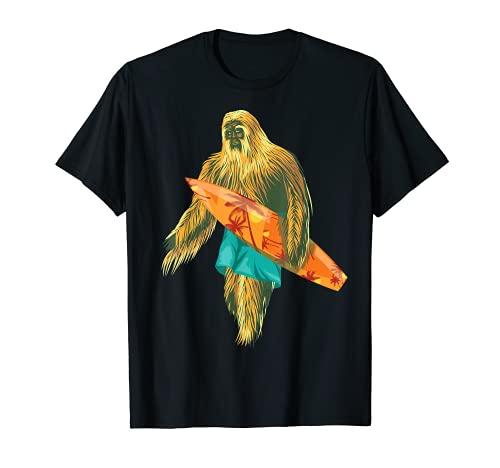 Surf Bigfoot   Regalo de creyentes de criatura peluda fresco Camiseta