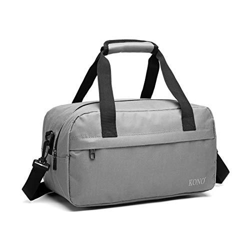 Kono - Borsone da viaggio per bagaglio a mano, ultra leggero, 35 cm, 250 g, 14 litri, con tracolla, Grigio, 35cm (W) * 20cm (H) * 20cm (D),