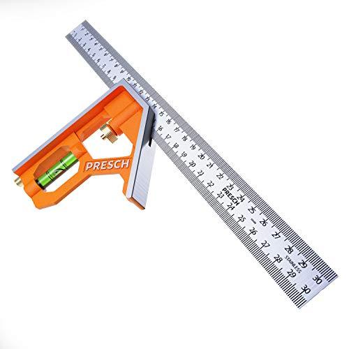 Presch Kombinationswinkel 300mm - Präziser Universal Kombiwinkel aus Metall mit Linealanschlag und Anreisswerkzeug - Combination Square - Hochwertiges Profi Messwerkzeug
