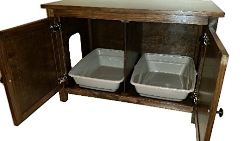 Odor Free, Custom, Hand Made in USA, Wood Cat Litter Box Cabinet with Hinged Lid for Easy Access. Beaded Panels. No Assembly Needed. Not MDF (Vanilla)