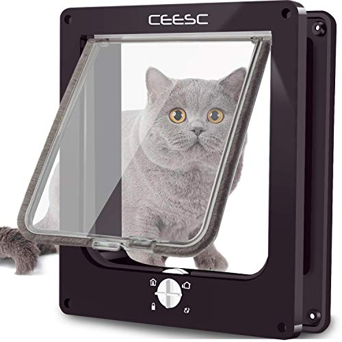 CEESC Große Katzenklappe (Außengröße 29,5 cm x 24,5 cm), drehbare 4-Wege-Verriegelungstür für Katzen-Außentüren, wetterfeste Haustiertür für Katzen und Hunde mit Umfang <63 cm, verbesserte Version