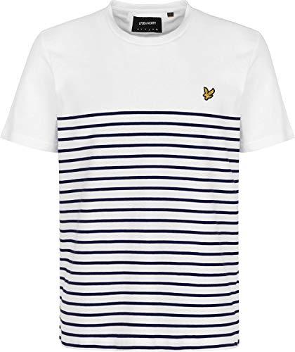 Mens Lyle And Scott Brenton Stripe T-Shirt in White Navy