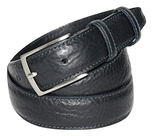 ITALOITALY - Cintura Uomo Classica in Vera Pelle, Elegante, ca. 3 cm, Artigianale, Made in Italy, Accorciabile (Blu scuro, Girovita 115 cm = Lung. totale cm 130)