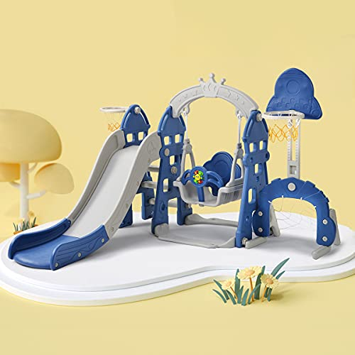 CHEIRS Parque Infantil 5 en 1, Juego con aro de Baloncesto, tobogán extralargo, Marco de Columpio, Columpio de jardín, Columpio para niños, tobogán, tobogán