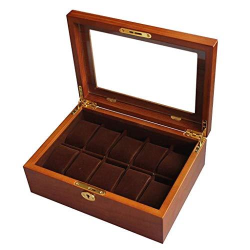 H.yina Uhrenbox aus Holz 10 Slots Uhrengehäuse Schmuck Display Aufbewahrungsboxen Showcase Organizer mit 10 Kissen und Glasplatte für Männer Frauen
