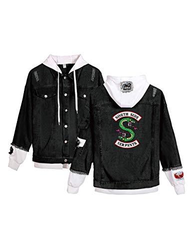 Riverdale Southside Serpents Jacke Damen, Teenager Mädchen Denim Jacket Unisex Herren Coole Jeansjacke Pullover Frauen Winterjacke Männer Kapuzen Sweatshirt Jäckchen Hoodie Outwear (C-Schwarz-W,2XL)