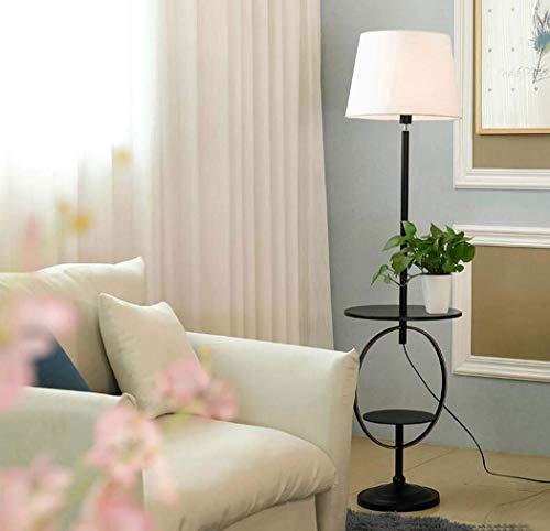 JKL Moderne vloerlampen, creatieve smeedijzeren vloerlampen met stoffen kap, verstelbare lamp, standverlichting met dubbele plank voor woonkamer, slaapkamer, E27, max60W, B C
