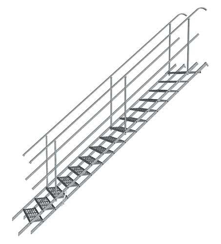 Baustellentreppe Gartentreppe Mobile Treppe für Böschungen mit 12 Stufen für eine Geschoßhöhe 2,50m verinkt