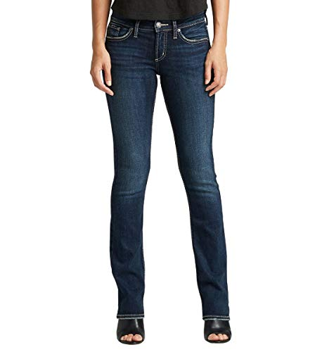 Silver Jeans Co. Damen Suki Slim Boot Jeans, Dark Indigo Rinse, 31W x 31L