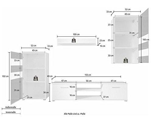 trendteam 1573-001-02 Wohnwand Weiß,  Klarglas Schwarz Siebdruck, BxHxT 222x177x40 cm - 7