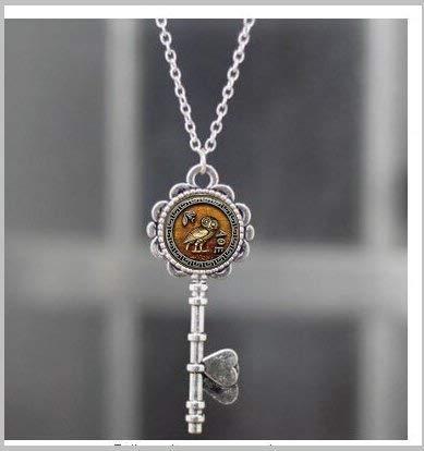 Athena's Owl Pendant Necklace Key, Athena's Owl Necklace Key,Athena's Owl Jewelry with Matching Chain