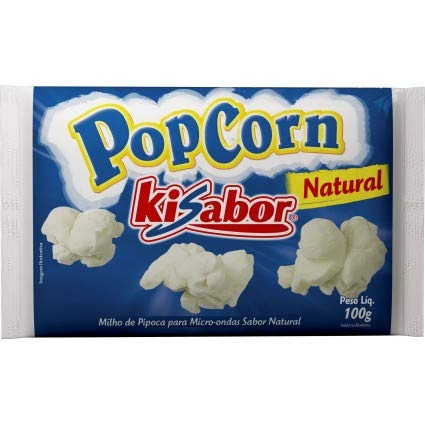 Buy Microwave Popcorn Natural Flavor 3.52 (Pack 8) | Pipoca de Microondas Kisabor Natural 100g (Pack...